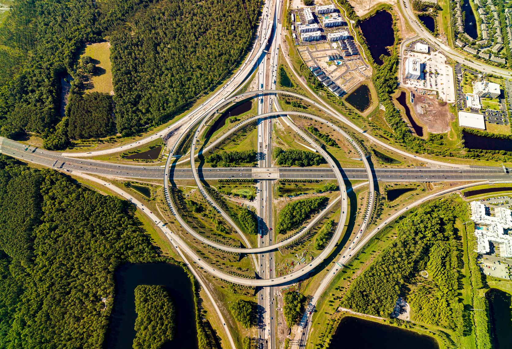 Aerial view of a major highway intersection in Jacksonville Florida
