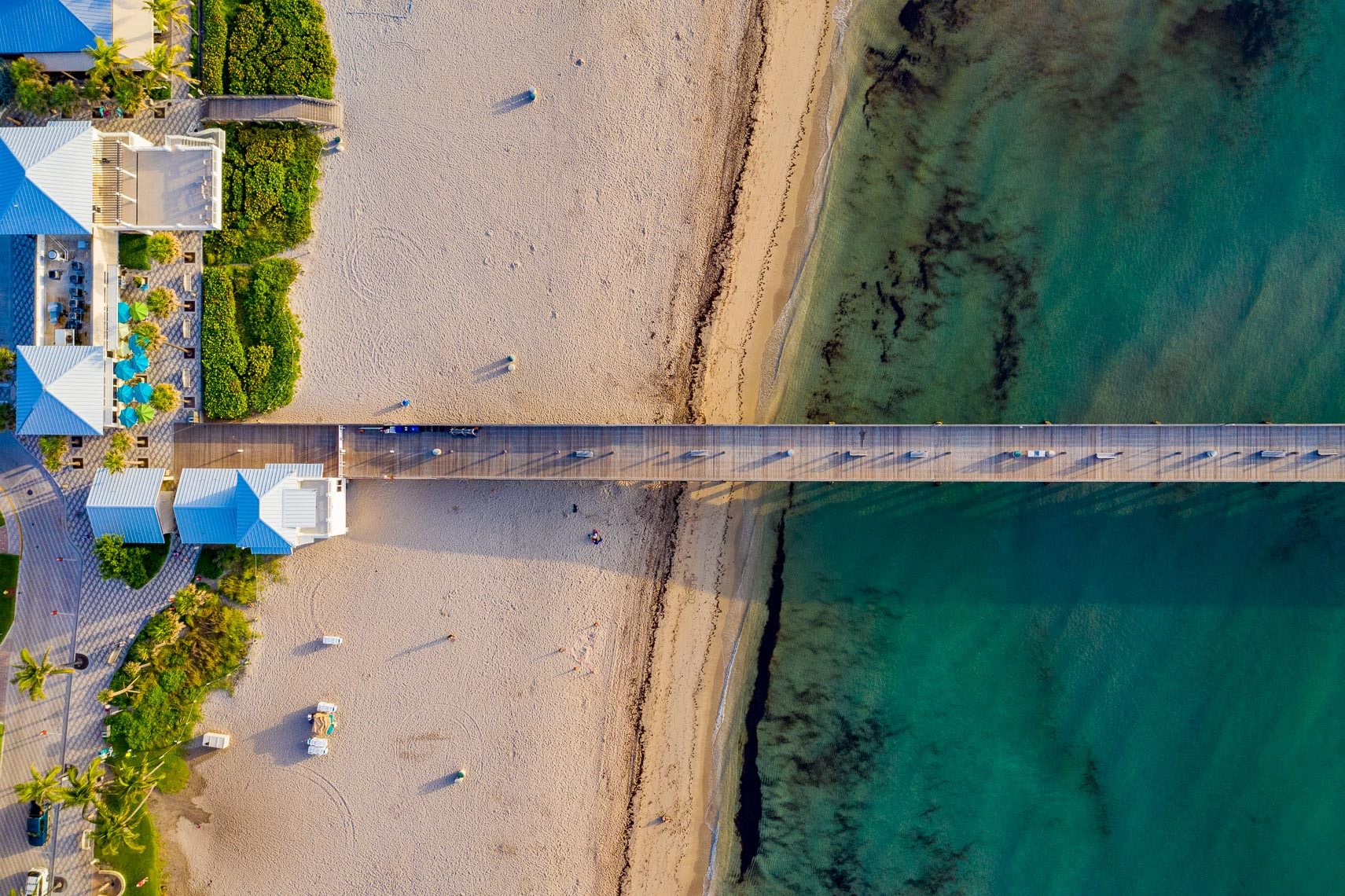 The Deerfield Beach International Fishing Pier seen from a drone