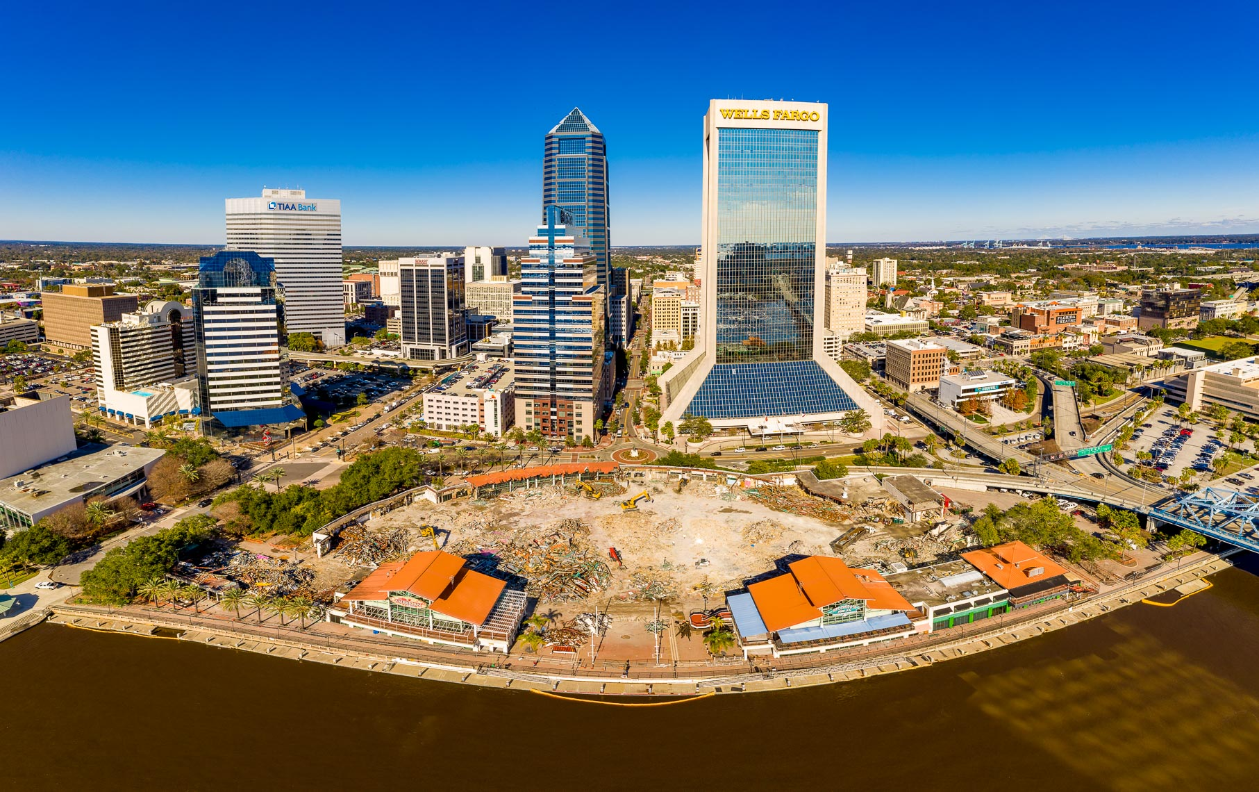 A drone shot of the demolishing of the Jacksonville Landing