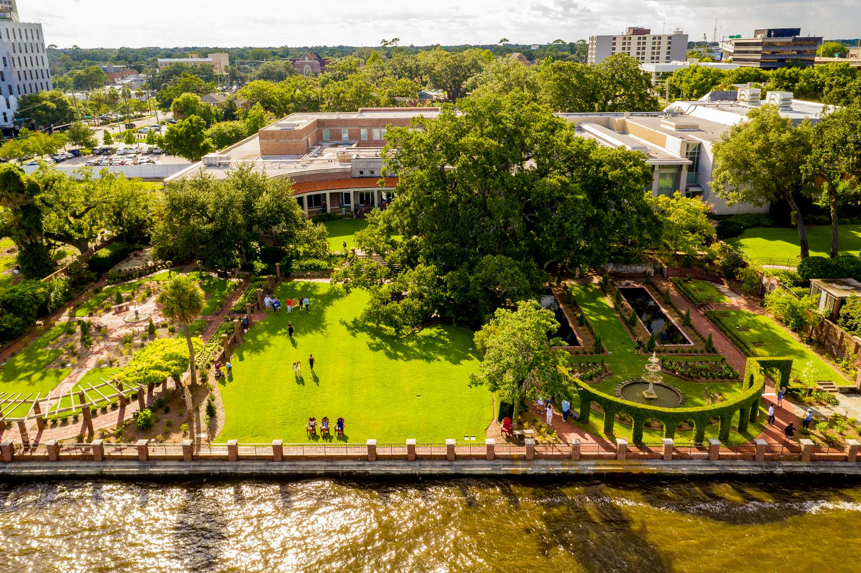 Drone view of the Cummer Museum and Gardens