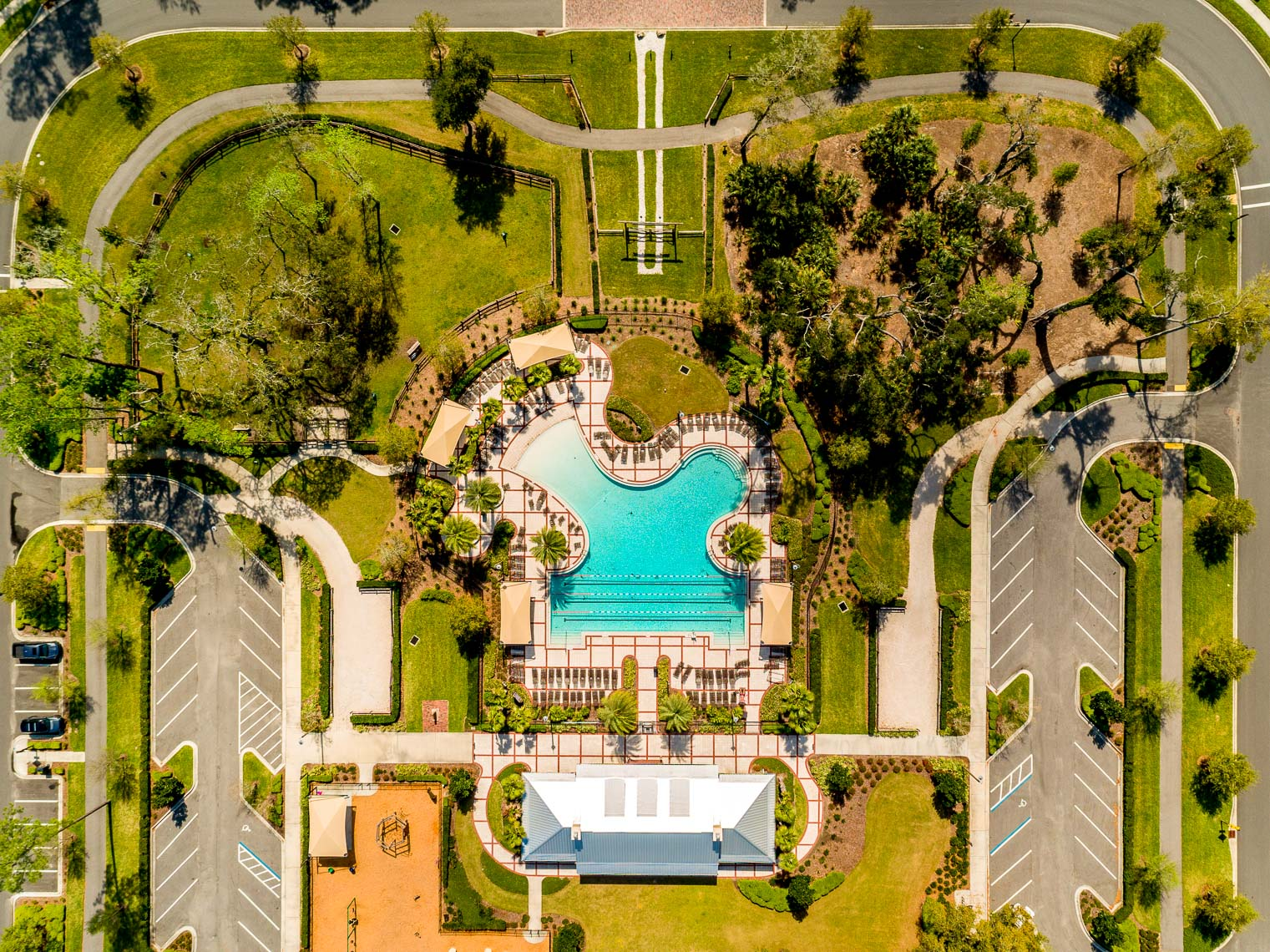 Overhead drone view of a pool in Nocatee