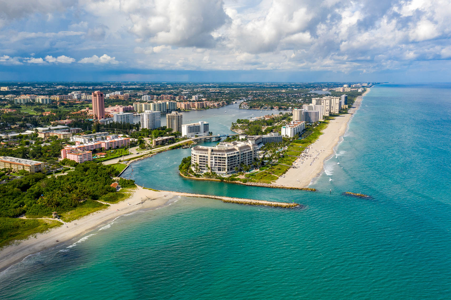 Aerial drone shot of the Boca Raton Inlet