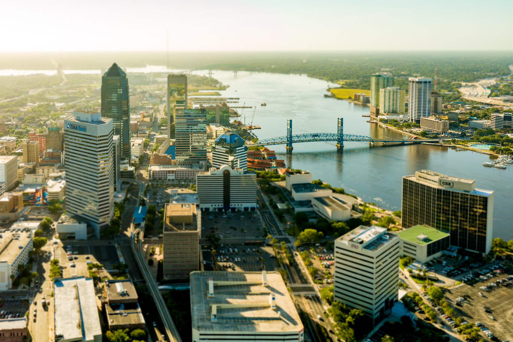 Aerial view of downtown Jacksonville and the St Johns River