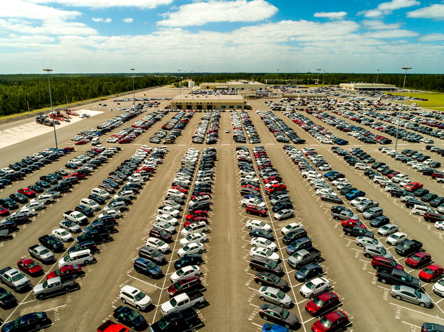 Aerial drone views of Southeastern Toyota automotive supply chain