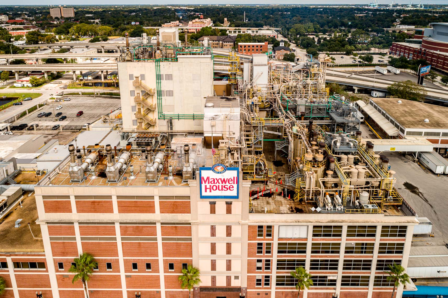 Aerial drone exterior of the Maxwell House Coffee plant in Jacksonville Florida