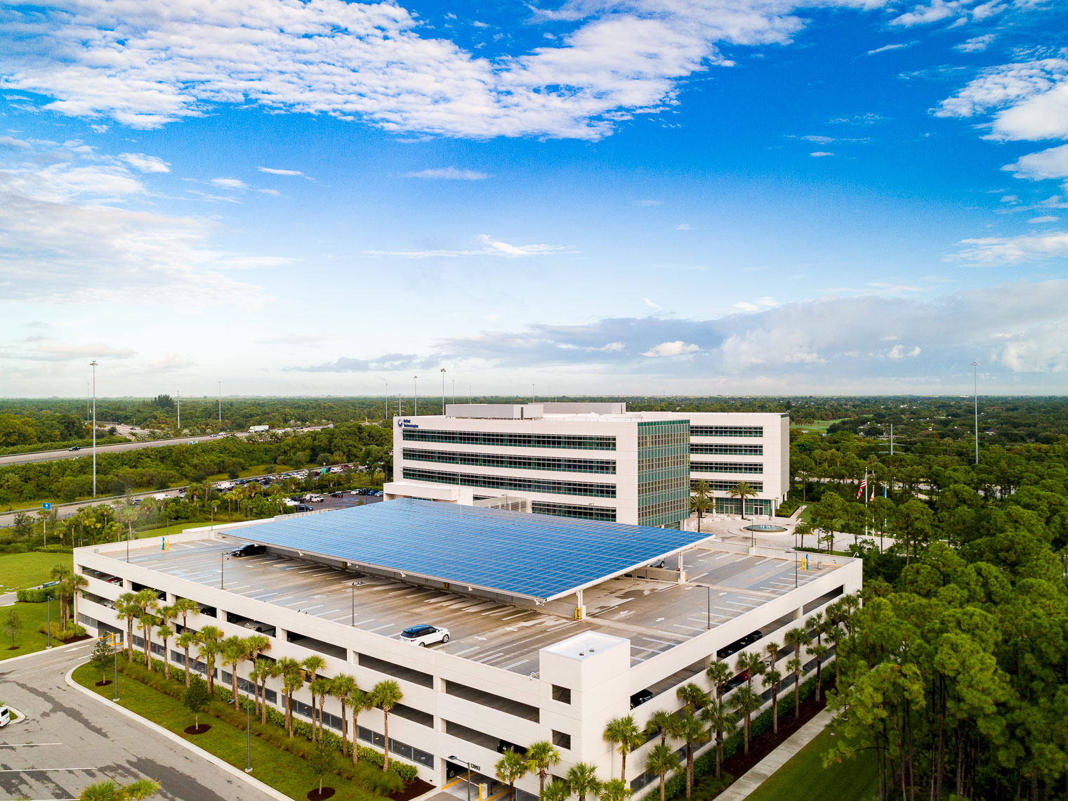 Aerial drone shots of the Carrier HQ in south Florida