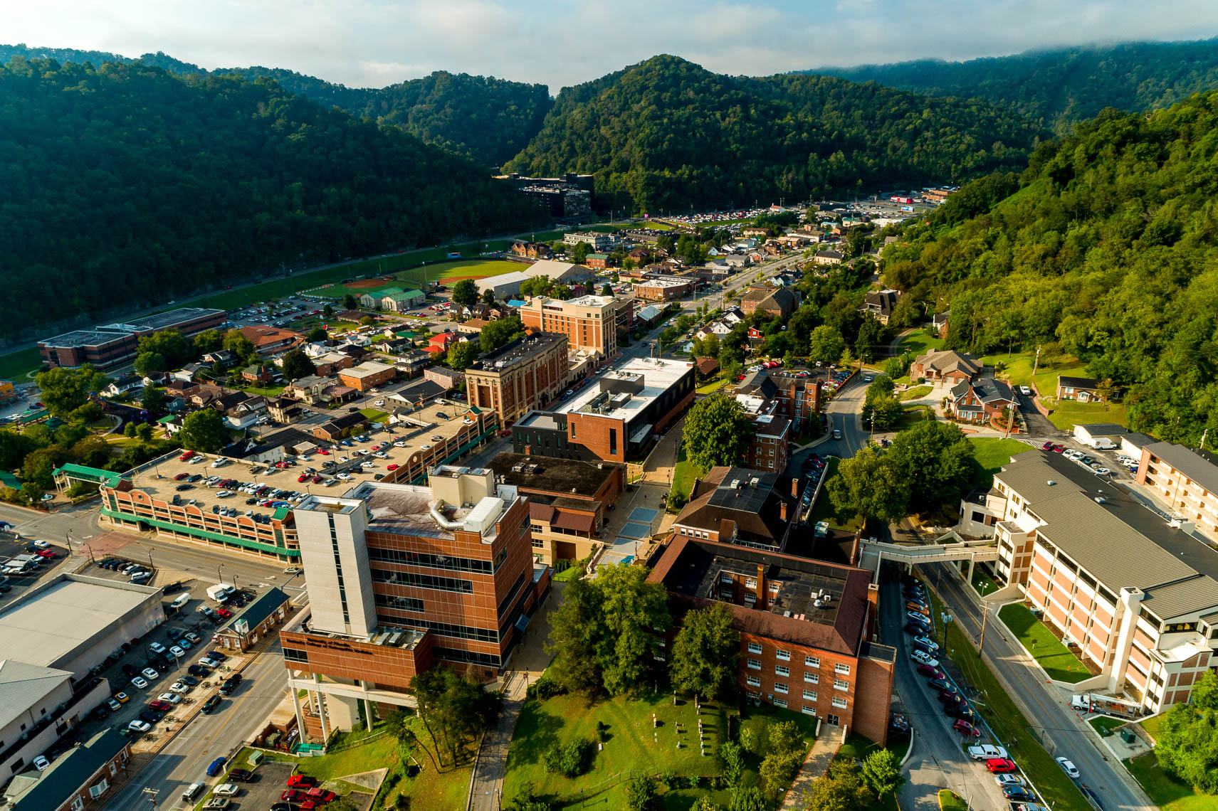 Overhead drone shot of the Pikeville University Campus