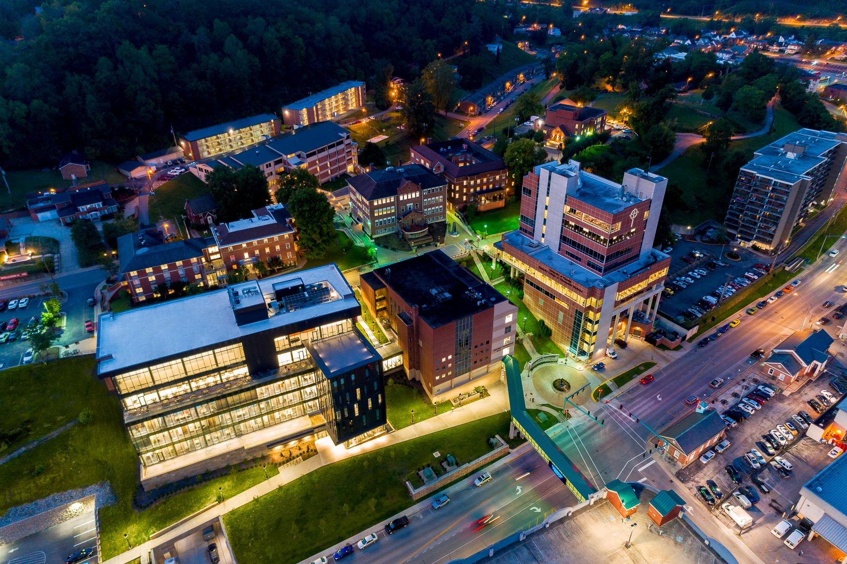 Aerial drone view of Pikeville University