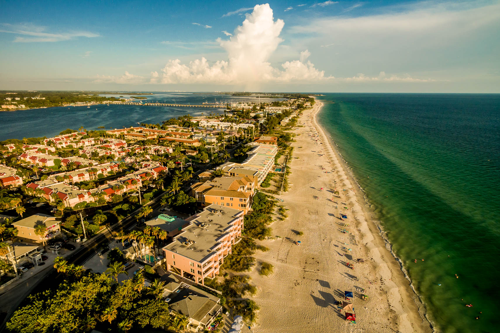 Aerial drone view of Bradenton Beach at sunset
