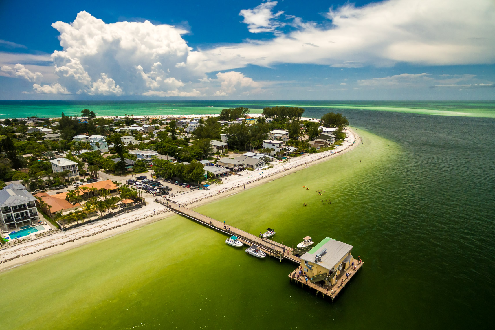 Aerial Drone View of Anna Maria Island and the Rod and Reel Pier