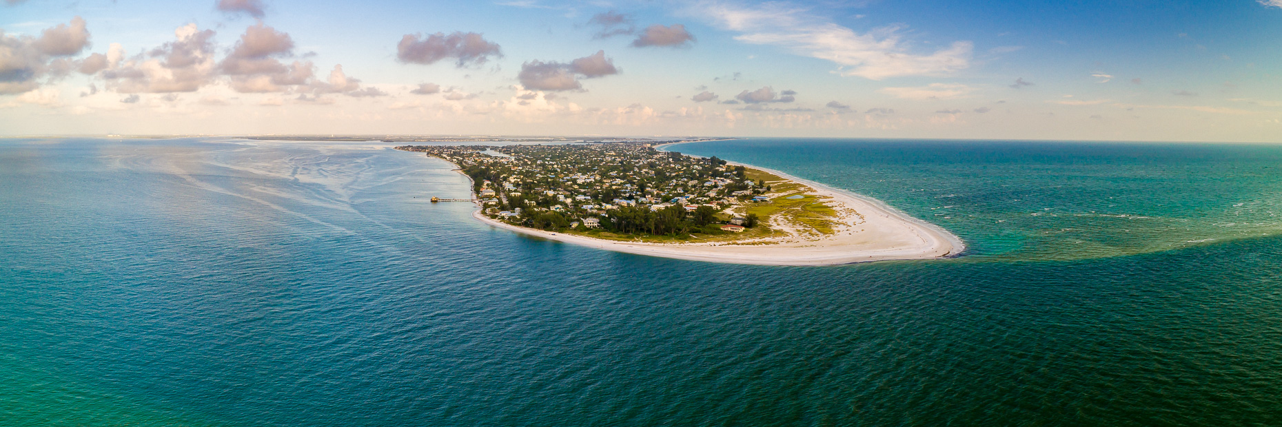 Aerial drone view of Anna Maria Island at sunset