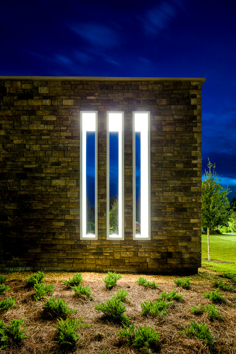 Abstract Exterior Lighting Feature of a Hospital