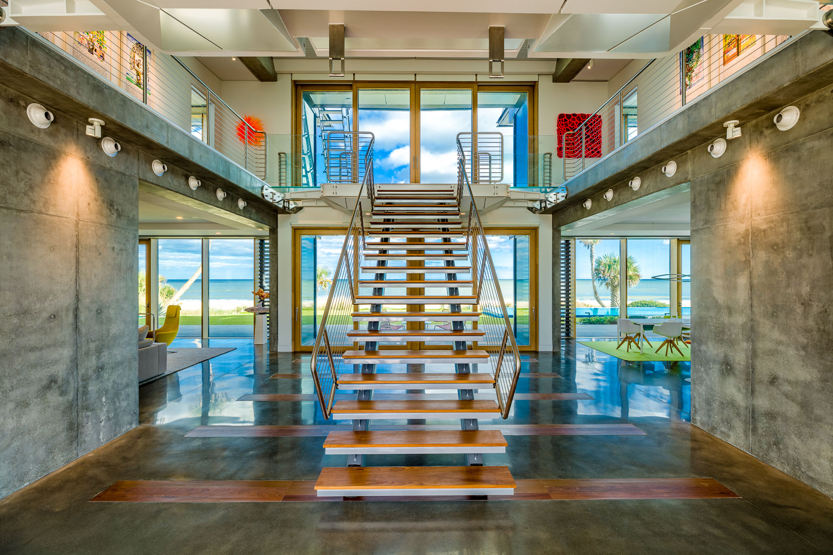Interior staircase at The Beach Shack in Ponte Vedra Beach