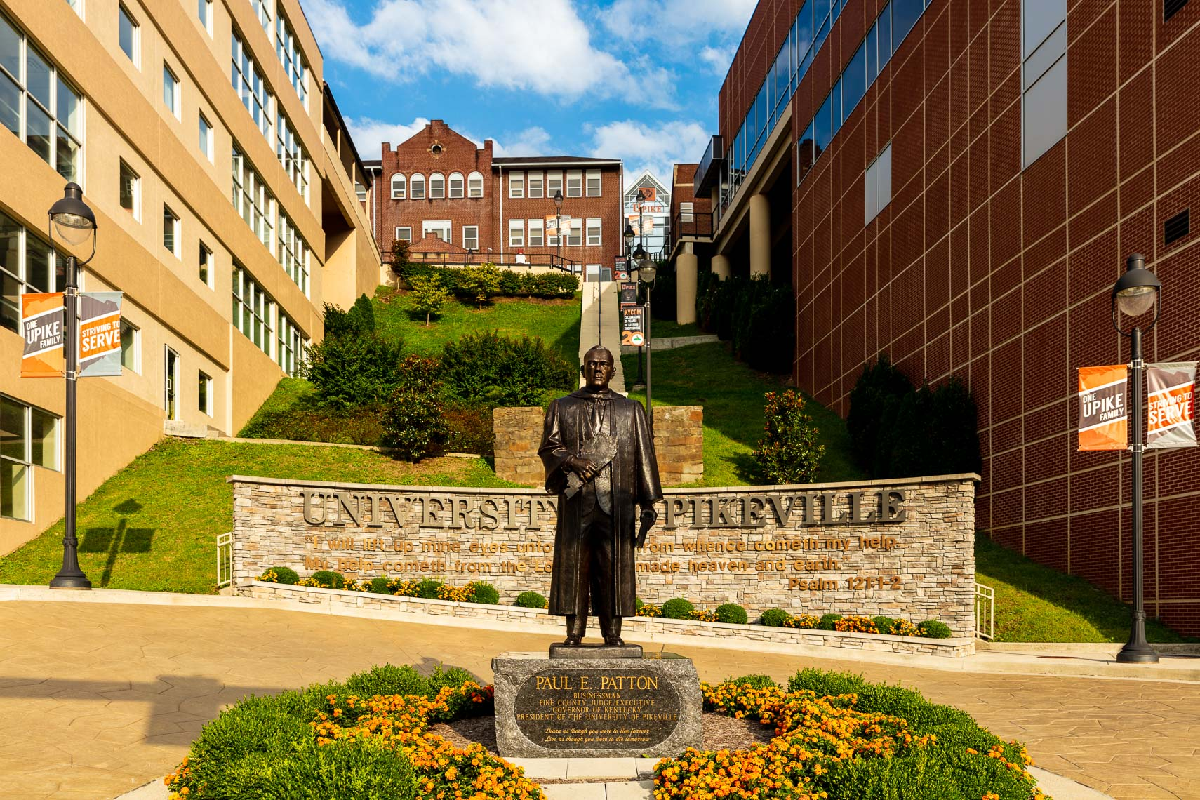 The Paul Patton Statue and stairway at Pikeville University