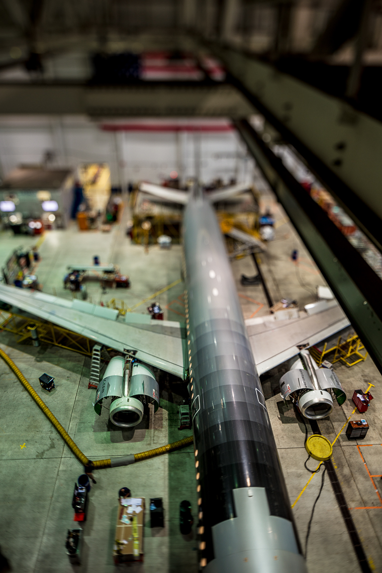 Retrofit of a 737 airplane in a hangar in Florida