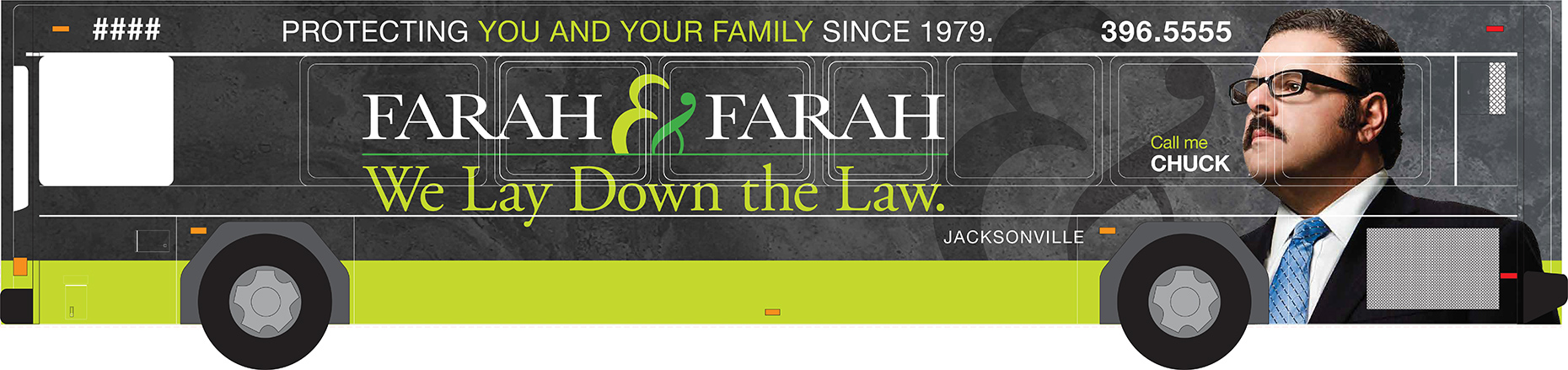 Bus wraps for law firm Farah & Farah.