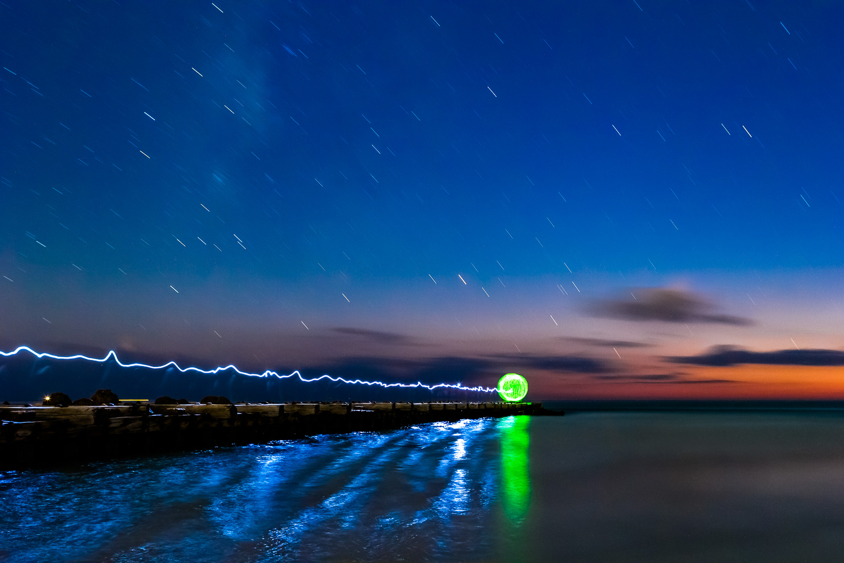 Sunset and Light Painting on the Gulf of Mexico