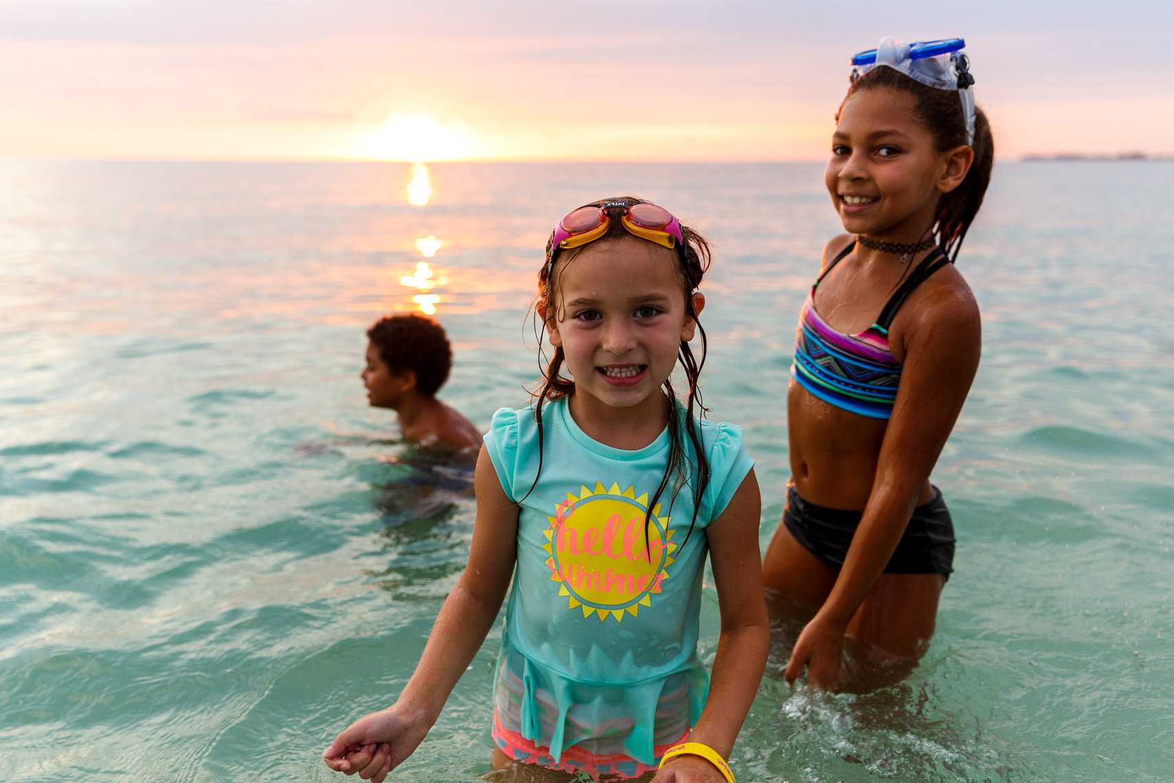 Children play in the Gulf of Mexico