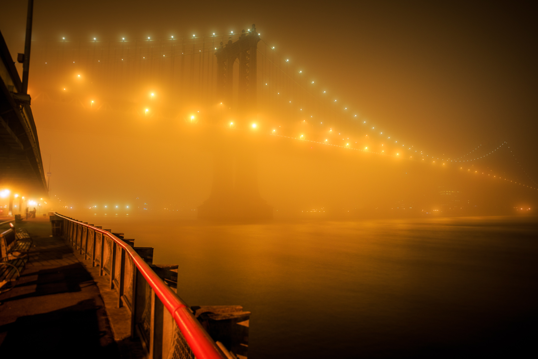The Manhattan Bridge and Brooklyn Bridge in Dense Fog