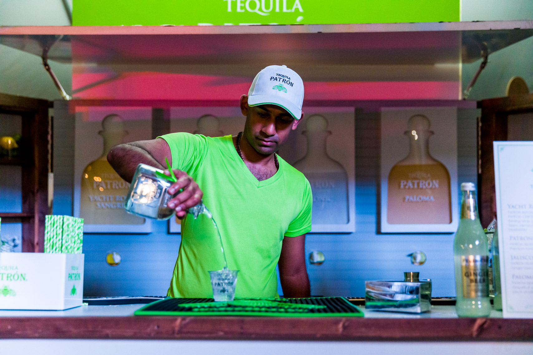 Patron Tequilla sponsor tent at an outdoor event in Jacksonville
