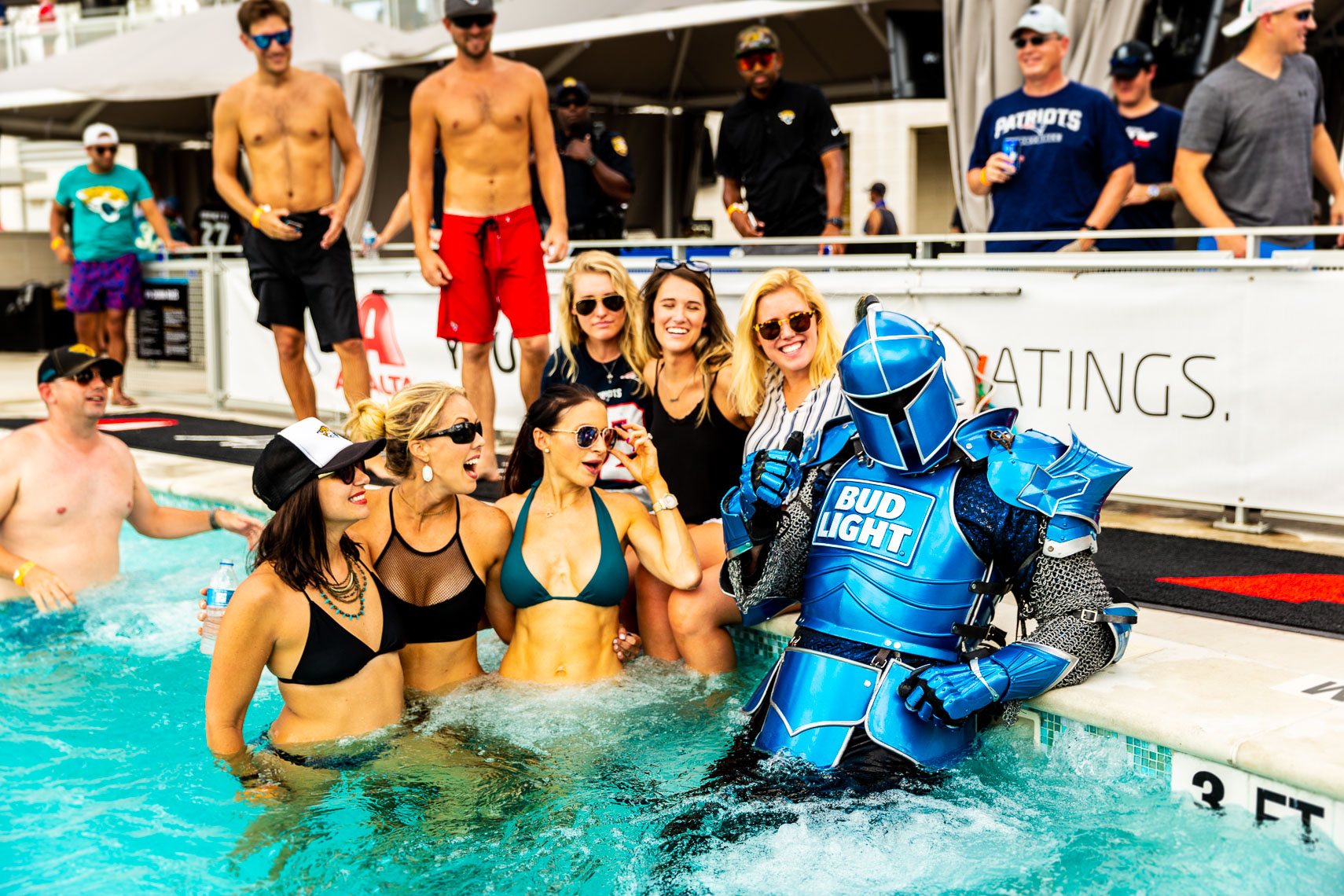 The Bud Light Bud Knight in the pool
