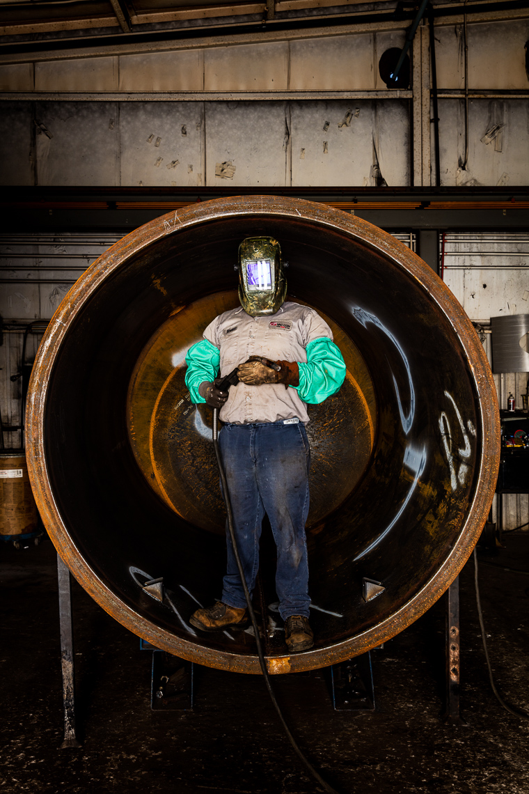 Portrait of a welder at Vaccon